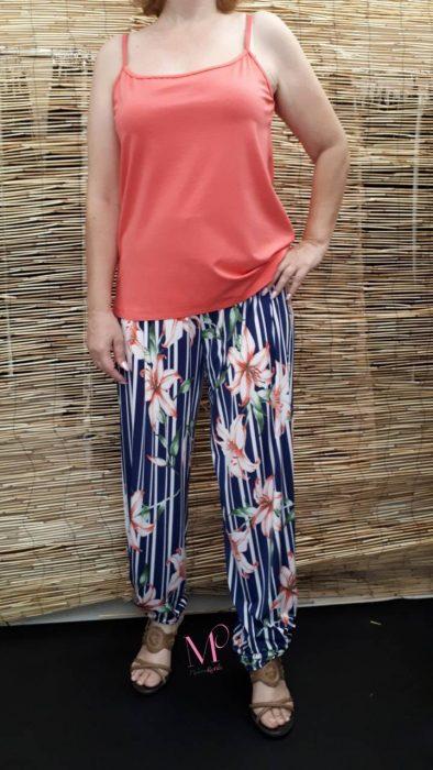 Κ18-3084 Παντελόνα ρίγα/floral σε ίσια γραμμή από s.jersey