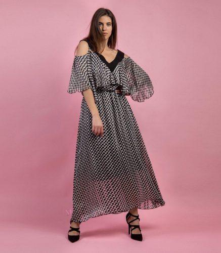 Κ19-20698 Φόρεμα maxi με ενσωματωμένο φορεματάκι σε ψαροκόκαλο