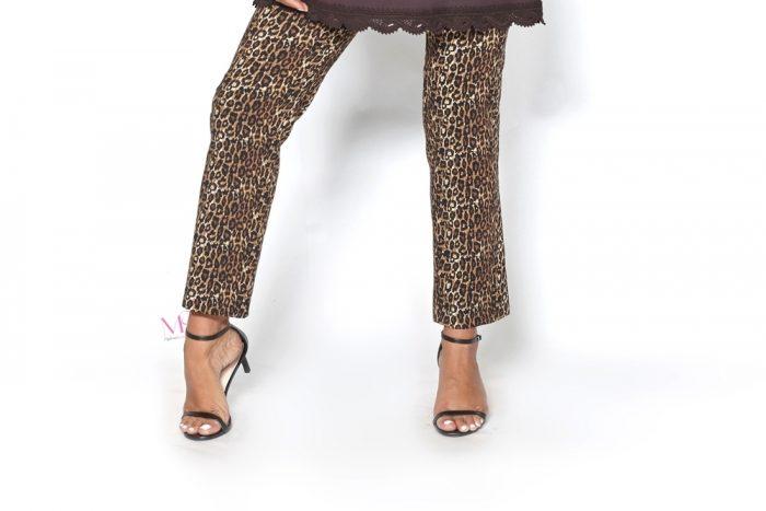 20-80194 Καφέ Παντελόνι cotton ελαστικό σε animal print