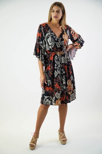 Κ20-20815 Φόρεμα midi με κρουαζέ V λαιμόκοψη και καμπάνα μανίκια